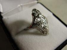 Art Deco 18k White Gold Filigree Diamond Accent Ring, Sz.6.75