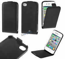 Custodia nera flip eco pelle cover case magnetica proteggi per Apple Iphone 4 4S
