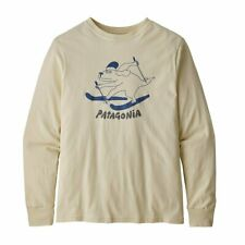 NEW Patagonia, Boy's L/S Graphic T-Shirt, Pupski: Oyster White 62229-PUOW