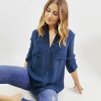 Haute Hippie Blue Silk Blend Button Down Top Women's Size XS