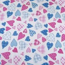 Ornamental Pink & Blue Hearts Tossed on Bright White Cotton Fabric, Per 1/2 Yd