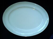 Losol Ware KEELING & CO LTD 16 inch Cream/Silver/Green Stripe Oval Platter/Plate