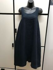 Veritecoeur Japan Raw Linen Cotton Dark Sumi Ink Double Scoop Neck A Line Dress