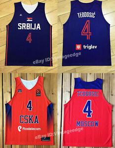 Milos Teodosic #4 Serbia Srbija Moscow CSKA Basketball Jersey EuroLeague Jerseys
