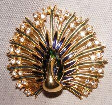 Esmalte de gran tamaño y Diamante Pavo Real Broche De Oro Plateado Precioso Calidad