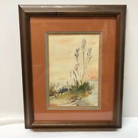B E Giles Watercolor Painting Gulf Coast Jetty LA Louisiana Matted Framed Art