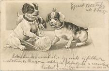 Dogs, Puppies Playing with a String, Funny Old Embossed Postcard 1902