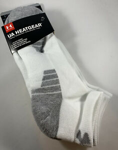 Under Armour Low Cut Socks 3 Pairs Pack Large White UA Train Heatgear New