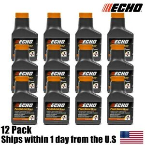 (12) Echo Oil 2.6 oz Bottles 2 Cycle Mix For 1 Gallon Power Blend Extended Life