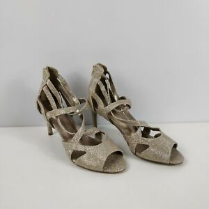 WOMENS M&S MARKS SPENCER GOLD GLITTER ZIP UP CAGED HIGH HEELS SHOES UK 5 EU 38