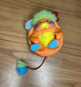 "Vintage Mini Popples 3"" Plush Plastic Orange Puzzle Green Hair 1986"