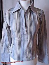 EDC Bluse Damen Langarm Polo gestreift halbe Knopfleiste Gr. M