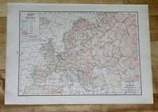 1918 MAP OF EUROPE / CLIMATE WEATHER / VEGETATION