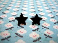 FUNKY BLACK MINI STAR EARRINGS CUTE KITSCH RETRO EMO PUNK ROCK FUN COOL NOVELTY