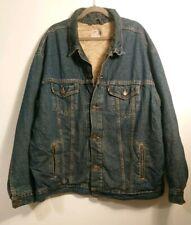 Rare Levi's Dry Goods Blue Denim Sherpa Lined Jacket Size XXL 2XL Vintage Borg