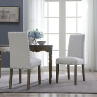 Set of 2 Dining Chairs Beige Linen High-Back Armless Elegant Accent Side Chair