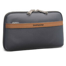 Teemzone Men's Handbag Genuine Leather Large Capacity Clutch Bag Zipper Wallet