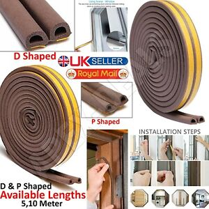 Draught Draft Excluder Self Adhesive Rubber Door Window Seal Strip Roll Tape New