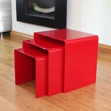 Red Acrylic Plastic Nest of 3 Tables Bedside Table Coffee Table End Table
