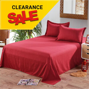 New Deep Flat Sheet Bed Sheets Poly Cotton Single Double King Super King Size