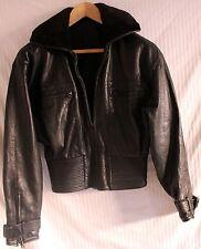 Vntage Black Sheepskin & Leather Women's Bomber Flight Jacket sz M RiRi Zipper