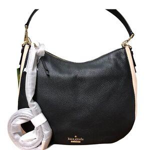 KATE SPADE NEW YORK Jackson Street MED Mylie Black Beige Leather Hobo $298 NWT