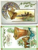 (2) Antique  Post Card c. 1909  A HAPPY NEW YEAR HOLIDAY Raphael Tuck & Sons
