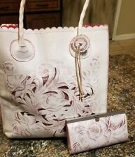 ADORABLE RARE LOT Patricia Nash Cavo Tote White & Pink Waxed Tooled AND Wallet!!