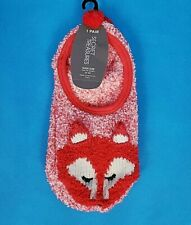 Secret Treasures Red Fox w Ears Slipper Socks ~ Non Slip ~ Shoe 4 - 10 ~ NEW