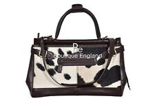 New Ladies Stylish Gladstone Bag Brown COW Printed Fur Real Cow Leather Hand Bag