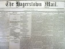 1867 Hagerstown MARYLAND newspaper ANGOLA RAIROAD HORROR disaster kills 49 perso