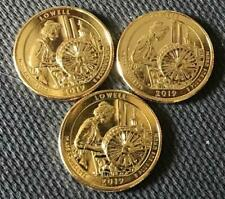 2019 P-D-S 24K GOLD LAYERED LOWELL (MASSACHUSETTS) 3 COIN ATB QUARTER SET