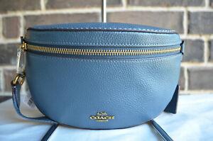 NWT Coach Pebble Fanny Pack  Belt Bag 39939 Dark Denim blue