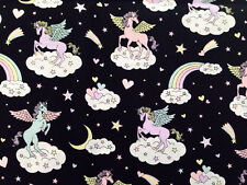 Cute Unicorn Print Japanese Fabric Black - 110cm x 50cm