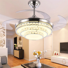 "42"" Crystal LED Chandelier Invisible Ceiling Fan Light Ceiling Lamp w/ Remote"