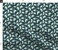 Manatee Nautical Ocean Teal Fabric Printed by Spoonflower BTY