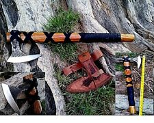MDM VINTAGE VIKING BATTLE ENGRAVING AXE ANCIENT MEDIEVAL LEATHER WRAPPED AXE COM