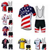 Men's Countries Team Kit Short Sleeve Cycling Jersey and Bib Shorts Padded Set