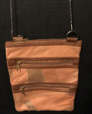 Ladies Crossbody Tote Bag Purse Beige Brown Apricot Multiple Compartments (B7)