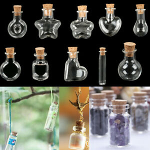 10x Mini Empty Glass Vial Pendants Clear Wishing Bottles Jars with Cork Stopper