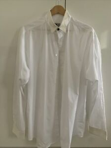 VERSACE V2 White & Cream Cotton Shirt 41/16 Worn Once Like New Just Crushed