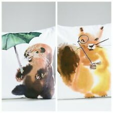 Painted Beaver and Squirrel Watercolour Print Decorative Accent Pillow Cases Set