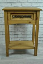 1 Drawer Lamp Side Table Waxed Pine Faux Leather Gold Studded Drawer Bedside