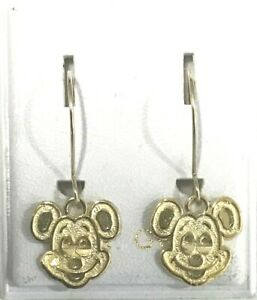 Brand New 14kt Gold MICKEY MOUSE Hanging Earrings - Free Shipping!