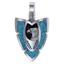 Sterling Silver Arrowhead Turquoise Gemstone Southwestern Style Eagle Pendant