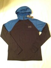 Mens Under Armour Running Hooded 1/2 Zip Shirt Hoodie Black Blue Med NWT $89