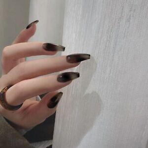 24Pcs French Fake Nails Full Press On Nail Black Blooming False Nails Ballerina