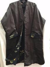 New Eskandar Size 3 1x 2x Floral Silk Padded Tie Front  Long Coat
