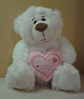 "White Fluffy Teddy Bear Love You pink pillow plush stuffed animal 11"" sitting"