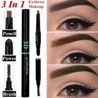 Ceja mejorar Maquillaje de ojos Cepillo + palo polvo 3 en 1 lápiz de cejas